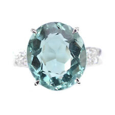 ALLURING 6.45 CT BLUE AQUAMARINE & SAPPHIRE OVAL STERLING SILVER 925 RING SIZE 7