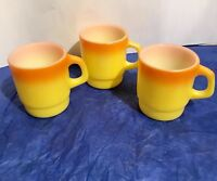 Vintage 3 Fire King Anchor Hocking Stackable Mugs Cups Candy Corn Yellow