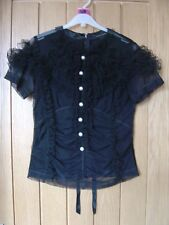 Marc Jacbos Black Frill Top Size US 4 UK 8 (Ref M) Excellent Condition