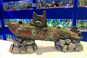 22cm Submarine Aquarium Fish Tank Sub Wreck Ornament SUB1