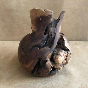 Manzanita Root Burl Wood Candle Holder Densmoke Hand Carved Vintage densmore PA