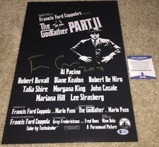 FRANCIS FORD COPPOLA SIGNED THE GODFATHER PART II 12X18 MOVIE POSTER PHOTO BAS
