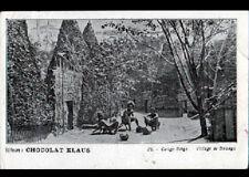 BWANGA (CONGO BELGE) VILLAGE animé 1900 / Carte postale Publicité CHOCOLAT KLAUS