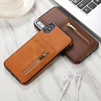 Luxury Leather Card Slot Holder Zipper Cover Case for iPhone XR XS Max 7 8 Plus