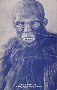"BULL  MONTANA "" gorilla makeup""-hollywood SILENT movie 1920s arcade/exhibit card"