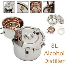 2 GAL 8L Copper Moonshine Ethanol Alcohol Water Distiller Stainless Boiler HOT