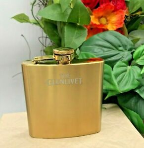 Collectible Advertising New GlenlivetScotch Whisky Stainless Steel Flask Gold