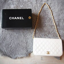 ORIGINALE Chanel matrasse Custodia in pelle CLUTCH BORSA PELLE LEATHER BAG BIANCO + ORO