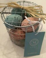 Martha Stewart Easter Spring Decorative Easter Eggs Set Of 12 Wire Basket Pastel
