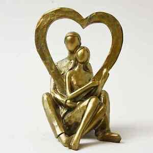 New Elegant Design Bronze Effect Couple Heart Sculpture Ornament Home Decor