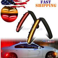For 2015-2020 Dodge Charger Front & Rear LED Side Bumper Marker Smoked Lens LED