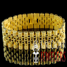 Mens Solid Stainless Steel Yellow Gold Finish Presidential Chain Bracelet 15mm