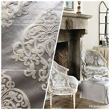 NEW! Designer Brocade Satin Fabric- Gray Ivory- Upholstery Damask