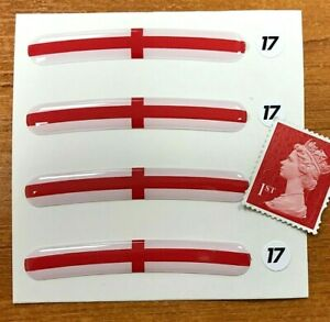 """4 x England Wheel Rim Stickers To fit 17"""" Super Shiny Domed Finish  St GEORGE"""