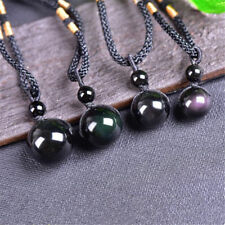 2x Natural Stone Obsidian Rainbow Eye Bead Ball Pendant Transfer Lucky Love Gift 18mm