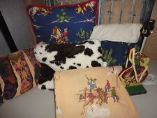 RTR COWBOYS RODEO BOOTS BROWN BLUE COWBOY (6PC) THROW SET LAMP PILLOW