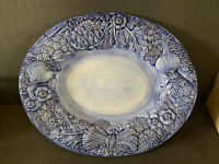 Vintage Majolica Large Blue Ceramic Vegetables Platter Hand Painted 20' Italy