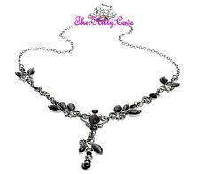 Deco Vintage Black Cats Eye Filigree Hematite 'Y' Necklace w/ Swarovski Crystals