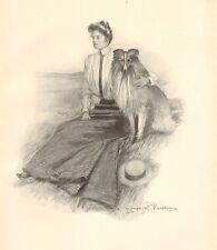 Victorian Lady, Fashion, Collie Dog, Clarence Underwood, 1909 Antique Art Print,