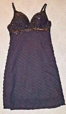 Sexy Arden B Black Cocktail Dress Sparkly Sequin Top Ruffles Large PADDED BRA