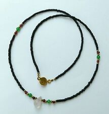 Afghan Black Glass, Garnet Tiny Seed Beads Necklace Rose Quartz Pendant 17.7""