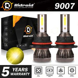 pair 9007 HB5 CREE LED Headlight Bulb Conversion Kit High Low Beam 3000K yellow