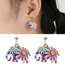 Fashion Cloisonne Hand Made 925 Solid Silver Cute Stone Elephant Stud Earrings