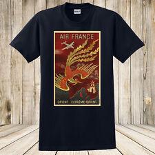 Brand New Air France T-Shirt Vintage Travel Poster Fire Dragon Art Design