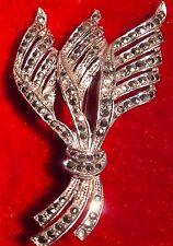 Spilla di FRIZZANTE 6 cm marquisite/Pietre Marcasite? su sfondo color argento
