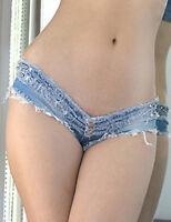 New destroyed micro denim shorts club wear pole dance hot pants Size UK 10 12 14