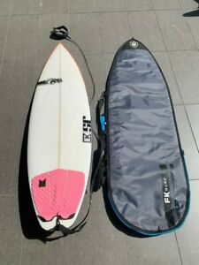 J&S WHITE FIBREGLASS SURFBOARD, WITH COVER CASE