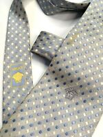 GIANNI VERSACE VINTAGE '90s MEDUSA WOVEN JACQUARD TIE SILVER BLUE WHITE ITALY