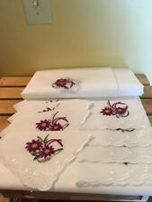 9 Pc HomeCollection  1TableCloth 8 Napkins Set White/Purple Flowers Scull Edges