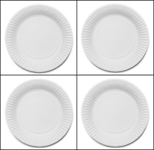 """120 WHITE PAPER PLATES - 9"""" inch (23cm) QUALITY AND DURABLE PARTY FOOD PLATES"""