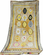 Flatweave rug handmade Persian Qashqai Kilim in vibrant colours size 9.4'x4.3'