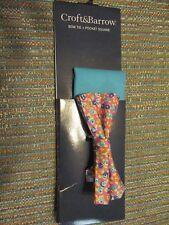 Croft & Barrow Silk Lexington Pink Floral Bow Tie w/Pocket Square SR$34 NEW