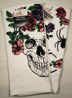 "2 Celebrate Halloween Glitter Skull Spider Floral Kitchen Dish Tea Towel 15""x25"""