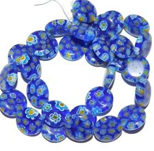 """G3033 Blue with Multi-Color Flowers 14mm Puffed Round Millefiori Glass Beads 15"""""""