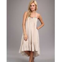 Free People Embroidered Gauze Peasant Dress Racer back High Low Size Large
