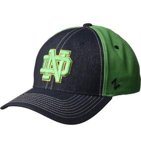 NOTRE DAME FIGHTING IRISH BLUE GREEN LEPRECHAUN CAP HAT STRETCH NWOT ZEPHYR M L