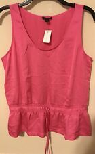 Ann Taylor neon pink shell blouse Size Medium bunched waist CAREER light