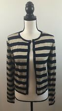 Ralph Lauren Womens Striped Cardigan Navy and Gold Size M A39008