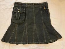 Baby Phat A-Line denim skirt. Cool pouch in front, knee length. Size 28 5/6