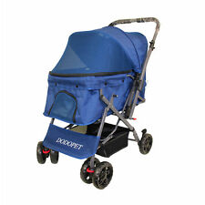 4 Wheels Reversible Pet Stroller Dog Pram Folding Travel Carrier Carriage Blue