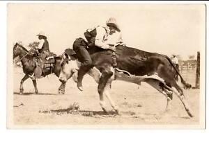 rppc real photo Western cowboy bucking bull Denver Sherman, Miles City, Mo.