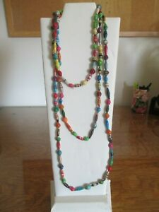 """Multicolored Hand Made USA Paper Bead Necklace 60""""-68"""" length"""