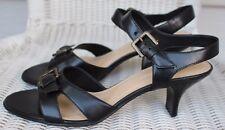 Naturalizer Womens sz 7M Black Strappy Open Toe Heels Buckle Decor Cushion Sole