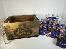 Vintage Soda Pop Crate & 22 Glass Bottles PURE SPRING King Size Grand Format