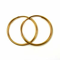 9ct gold hoop earrings 22 mm medium weight plain sleepers (1 pair)