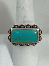 Singed Navajo turquoise coral sterling silver ring CFJ
